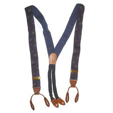 Cole Haan Blue Purple DOT Eightball Olive Circles Men's Suspenders Braces