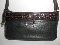 Vintage BRIGHTON Shoulder Purse Black Leather Brown Embossed Croc  Bow Small