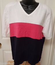 Christopher & Banks NWT Womens Cream/Pink/Black Striped Sweater Top Size XL