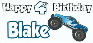 Monster Truck 4x4 4th Birthday Banner X2 Party Decorations Boys Son Kid ANY NAME
