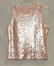 LN vtg OSCAR DE LA RENTA SEQUINED TOP Pink lined blouse sz M/M sparkle back zip