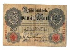 1910 German Empire 20 Mark Banknote