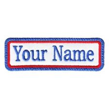 Rectangular 1 Line Custom Embroidered Biker SEW ON  Name Tag PATCH (BLRB)