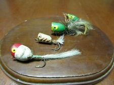 4 x Vintage Wooden Fly Rod Popper Flies- Fly Fishing Lures