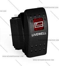 Labeled boat Marine Contura II Rocker Switch Carling lighted, Livewell (RED Lens