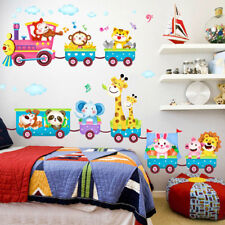 Animals Train Wall Stickers Nursery Decor Baby Kids Art Mural Removable