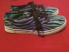 Vans shoes Girls Size 3 Missy zebra print skater sneakers tennis blue purple