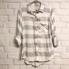 Thread Supply Womens Gray & White Striped Shirt Blouse Button Top M