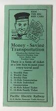 Vintage 1938 Pacific Electric Railway Alhambra Pasadena Line Pass& Fare Brochure