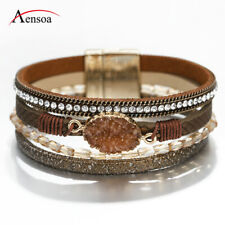 New Women Natural Stone Crystal Multi-layer Leather Bangle Wrap Bracelet Jewelry