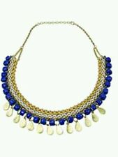 World Finds HAND MADE Moon and Stars Statement Necklace Brass/ Ceramic Beads