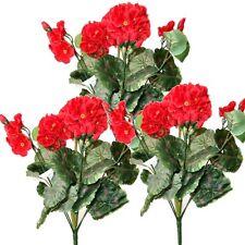 3 Artificial 36cm Geranium Bushes With Red Flowers - Decorative Plastic Plants