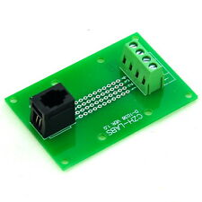 RJ9 4P4C Vertical Jack Breakout Board, Terminal Block Connector.