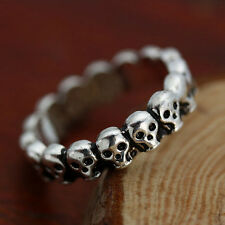 Gothic Skull Ring Vintage Biker Mens Black Punk Stainless Steel Ring US Size 7-9