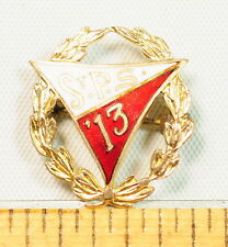 High School Class Estate Pin Solid Gold Enameled Antique 1913 Senior