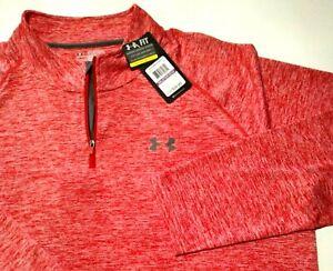 Under Armour Golf Men's 2xl 2XL Red White Shirt Active Zip Zipper LS NWT 7-20218