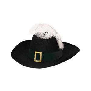 Hut Musketier mit schwarzem Hutband & weißer Feder Musketierhut
