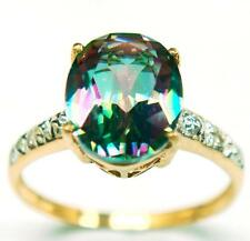 FINE 10KT YELLOW GOLD MYSTIC TOPAZ & DIAMOND RING    SIZE 7  R931