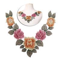 diy embroidered floral lace neckline neck collar trim clothes sewing applique A!