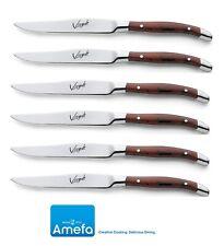 Amefa Set of 6 Virgule Brown Wood Look Handle Steak Knifes Stainless Steel Boxed