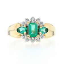 Synthetic Emerald & Diamond Ring - 14k Yellow Gold 1.25ctw