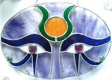 Large Egyptian Eyes symbol Horus Sun God stained glass panel suncatcher Egypt