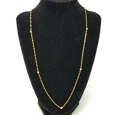 """18K SOLID Yellow Gold ITALY Singapore and Bead Necklace 26"""" YG 3.8g"""