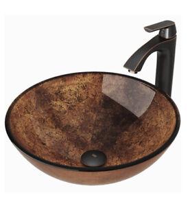 "Vigo 16 1/2"" Glass Bathroom Vessel Sink & Linus Single Hole Faucet w/Pop-up"