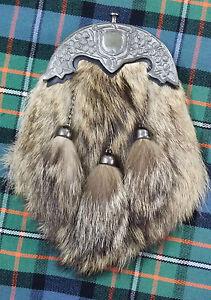 Full Dress Kilt Sporran Fox Fur Shamrock Cantle Antique Finish Scottish Sporrans