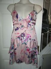 BNWT UK 12 LIPSY Dress Imogen Floral Print Pink Cross Lace Up Back Sleeveless