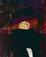 Lady with hat and feather by Gustav Klimt Giclee Fine Art Print Repro on Canvas