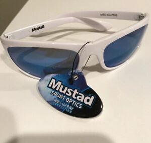 Mustad Polarized fishing beach Sunglasses white frame blue smoke Lens