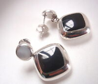 Reversible Black Onyx and Mother of Pearl 925 Sterling Silver Stud Earrings