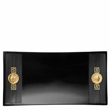"""VERSACE   BY ROSENTHAL,GERMANY  """"SIGNATURE BLACK-GOLD"""" DISH, 16 1/2 x 8 1/2 INCH"""