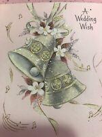 Vintage Wedding Card MCM Hallmark Glitter Pink Gold Bells Music Notes MC
