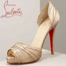 Christian Louboutin Turbella 120 Gold Wedding Peep Toe Stiletto Heels Uk 6 Eu 39
