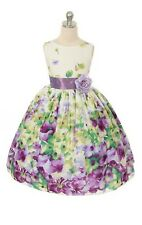New Lavender Floral Print Cotton Girls Easter Dress Wedding Spring Party Fancy
