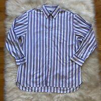 Ike Behar Mens Button Up Down Shirt Stripes Size XL Long Sleeve Point Collar