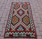 Tribal Embroidered Cappadocia Kilim Rug Anatolian Ethnic Handmade Carpet 3x4 ft