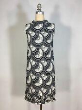 Vintage 1960's Black+White OPTICAL PRINT dress w/hem lattice detail by Martin's