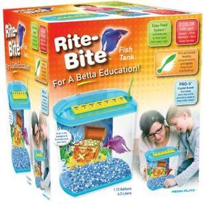 Penn Plax 1.13 Gallon Rite-Bite Educational Aquarium Tank - BRAND NEW!