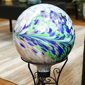 Sunnydaze Garden Gazing Globe Floral Spring Splash White, Green and Blue -