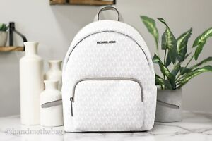 Michael Kors Erin Medium Bright White Signature Leather Convertible Backpack Bag