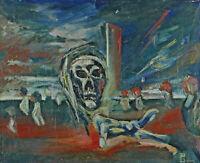 Monogrammiert G P - datiert 59 - Expressiver Surrealist - Der Tod