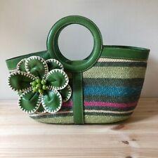 Isabella Fiore Basket Bag Beach Market Summer Rattan Straw Bag Flower Accent