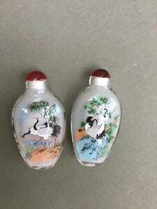 Antique Chinese Snuff Bottle (2)Crystal Carnelian Reverse Painting Cranes  9.5cm