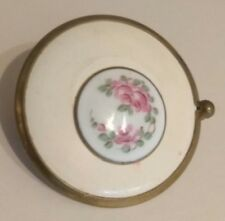 Antique Art Deco Portable Hand Painted China Floral Compact Mirror w/ Handle