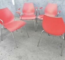 4 KARTELL MAUI RED ARMCHAIRS BY VICO MAGISTRETTI