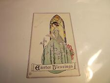 Easter Blessings Deco Postcard Embossed