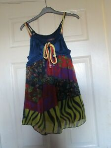 Soggo Collection multicoloured top blue strap summer top UK 14 blouse party M